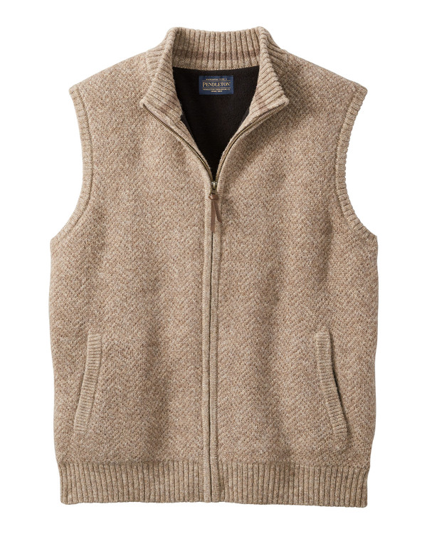 Shetland Zip-Front Vest in Coyote Tan Heather by Pendleton