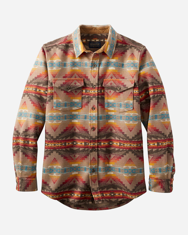 Fitted La Pine Overshirt in Tan Sierra Ridge by Pendleton