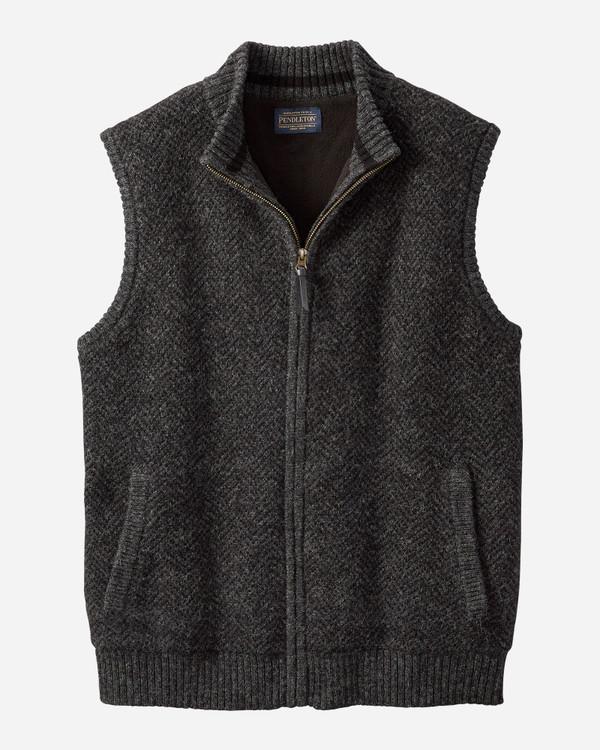 Shetland Zip-Front Vest in Black Heather by Pendleton
