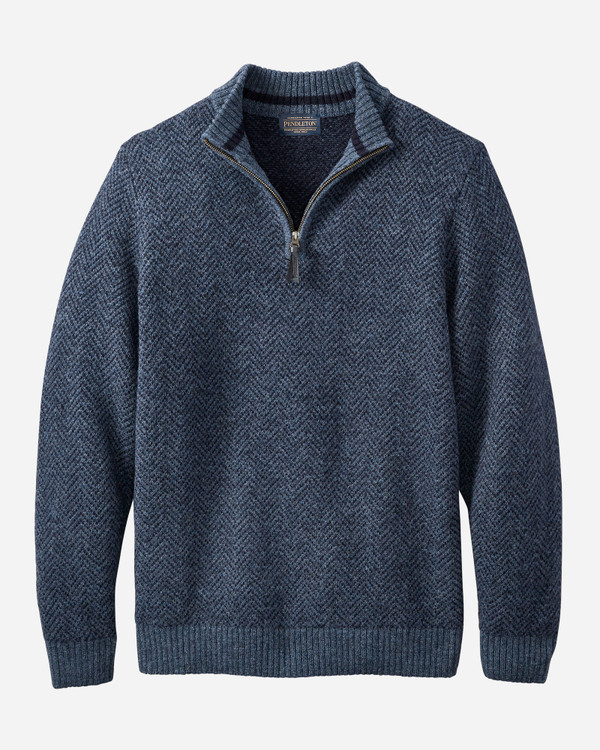 Magic- Wash Quarter Zip Pullover in Navy Heather by Pendleton
