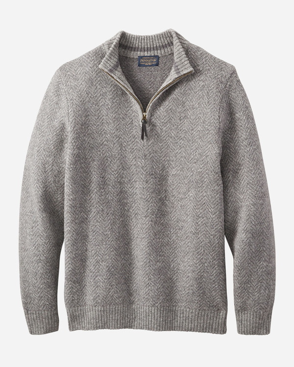 Magic- Wash Quarter Zip Pullover in Grey Heather by Pendleton