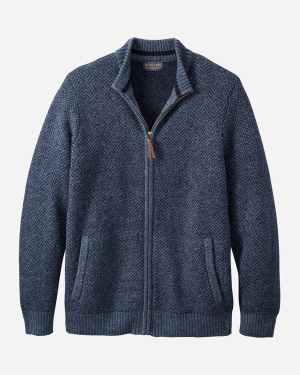 Full Zip Cardigan in Navy Heather by Pendleton