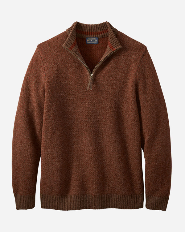 Magic- Wash Quarter Zip Pullover in Oxblood by Pendleton