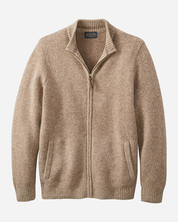 Full Zip Cardigan in Coyote Tan Heather by Pendleton