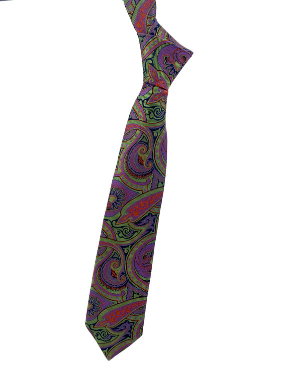 Fall 2020 Green, Purple and Orange Paisley Woven Silk Tie by Robert Jensen