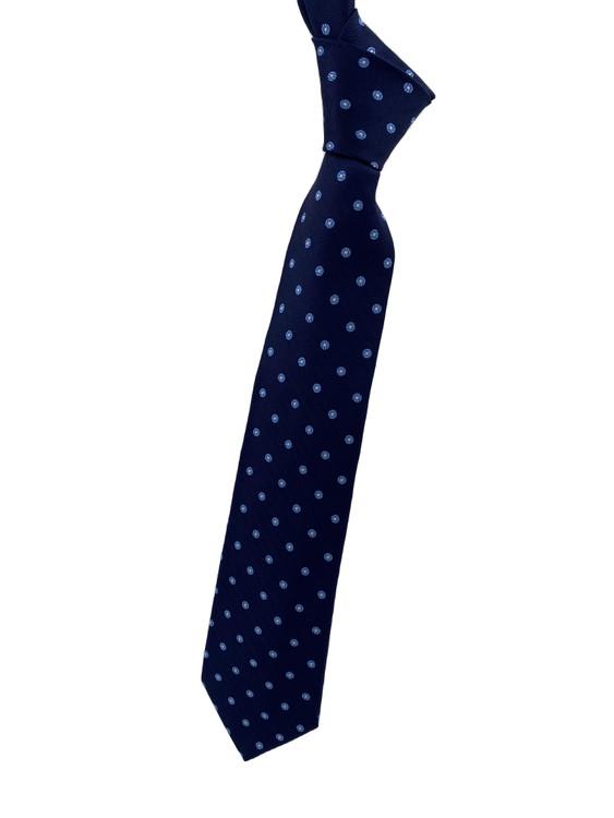 Fall 2020 Navy and Blue Neat Woven Silk Tie by Robert Jensen