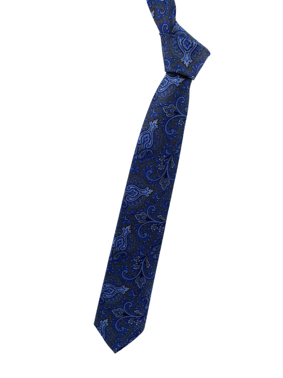 Fall 2020 Grey and Blue Paisley Woven Silk Tie by Robert Jensen
