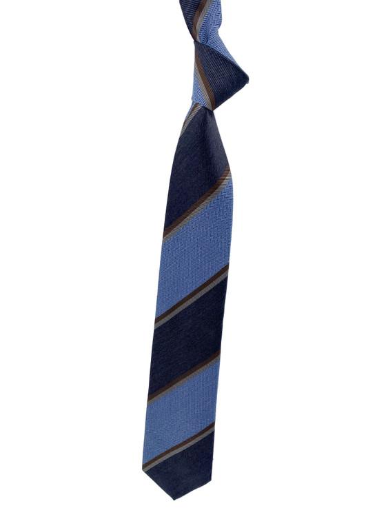 Fall 2020 Navy, Light Blue and Brown Stripe Woven Silk Madder Tie by Robert Jensen