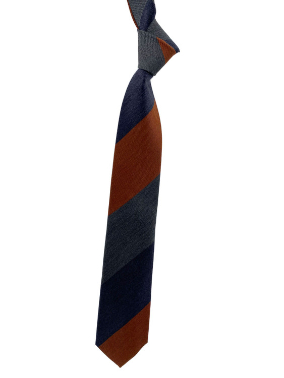 Fall 2020 Navy, Grey and Orange Stripe Woven Silk Madder Tie by Robert Jensen