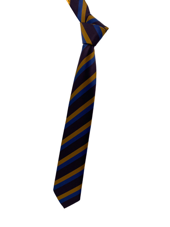 Fall 2020 Purple, Gold and Blue Stripe Woven Silk Tie by Robert Jensen