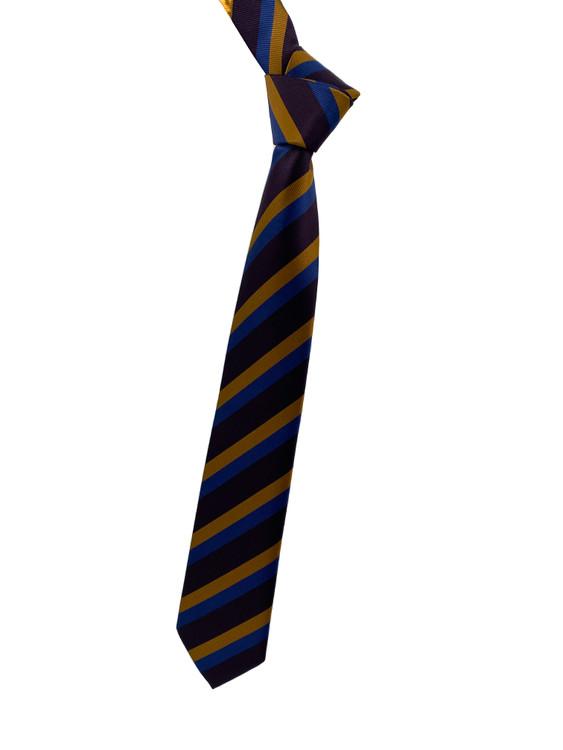 Purple, Gold and Blue Stripe Woven Silk Tie by Robert Jensen
