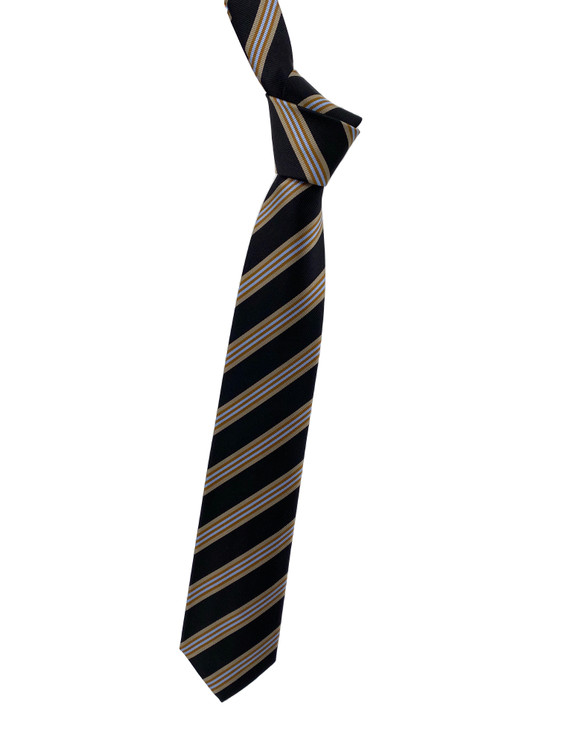 Fall 2020 Black, Gold and Blue Stripe Woven Silk Tie by Robert Jensen