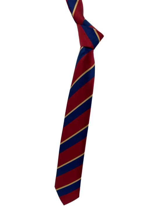 Red, Navy and Gold Stripe Woven Silk Tie by Robert Jensen