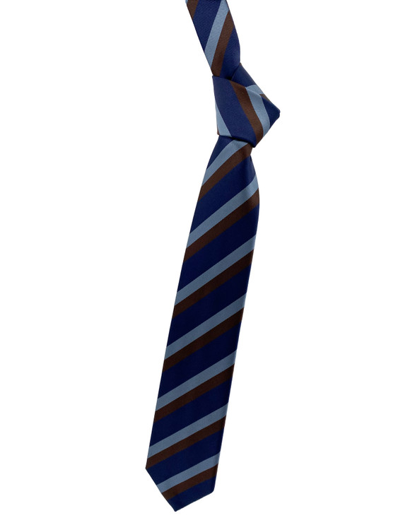 Fall 2020 Blue and Brown Stripe Woven Silk Tie by Robert Jensen
