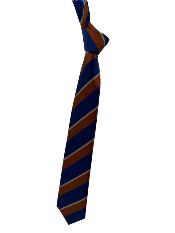 Fall 2020 Navy and Brown Stripe Woven Silk Tie by Robert Jensen