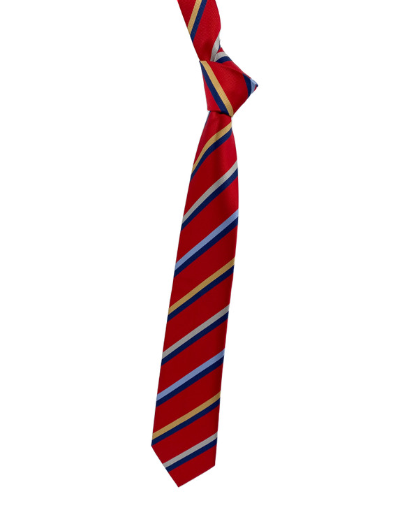 Fall 2020 Red, Blue and Gold Stripe Woven Silk Tie by Robert Jensen