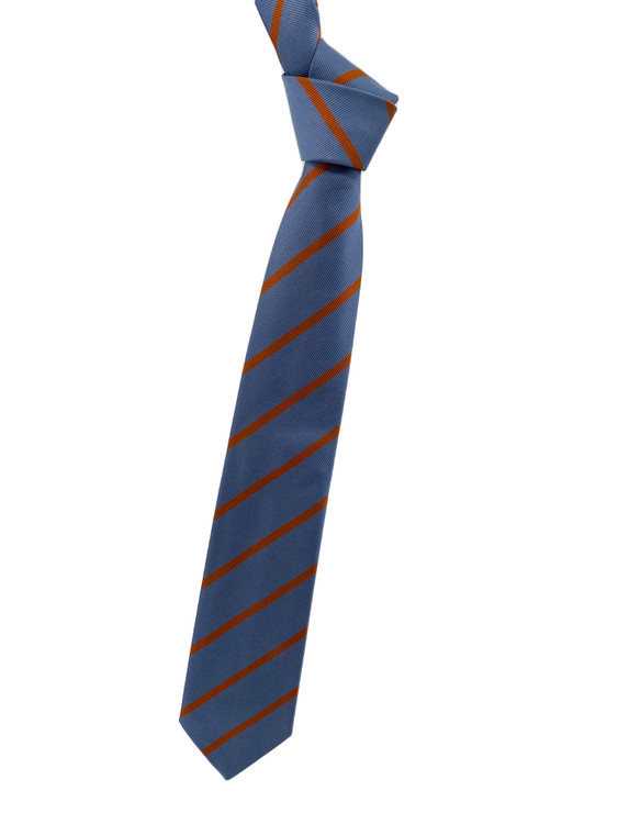 Fall 2020 Blue and Orange Stripe Woven Silk Tie by Robert Jensen