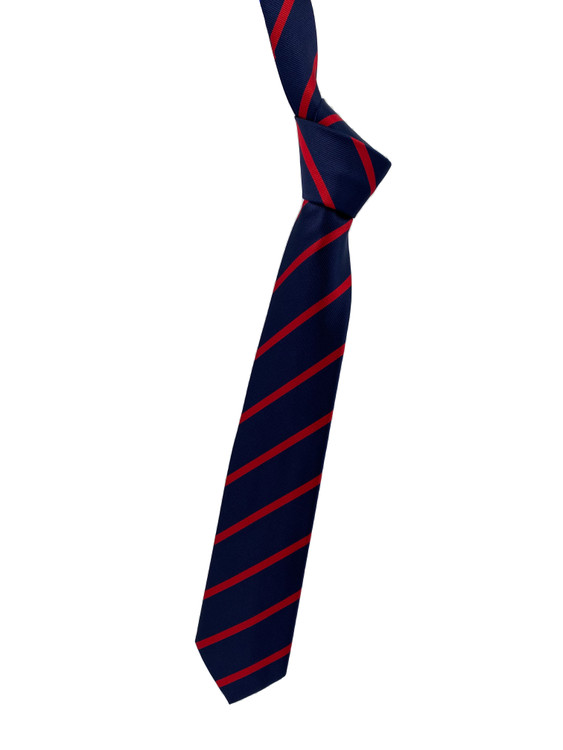 Fall 2020 Navy and Red Stripe Woven Silk Tie by Robert Jensen