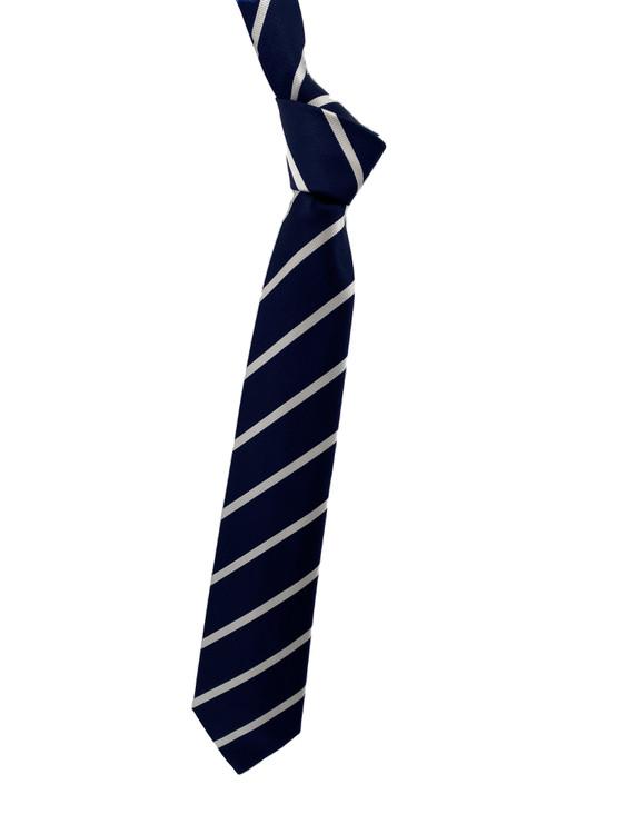 Fall 2020 Navy and White Stripe Woven Silk Tie by Robert Jensen