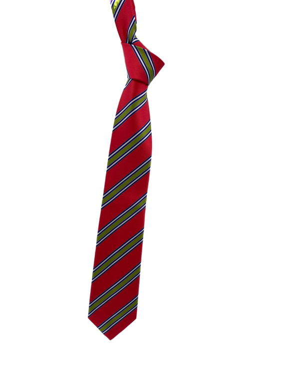 Fall 2020 Coral, Lime and Blue Stripe Woven Silk Tie by Robert Jensen