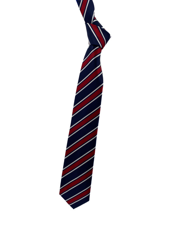 Fall 2020 Navy, Red and White Stripe Woven Silk Tie by Robert Jensen
