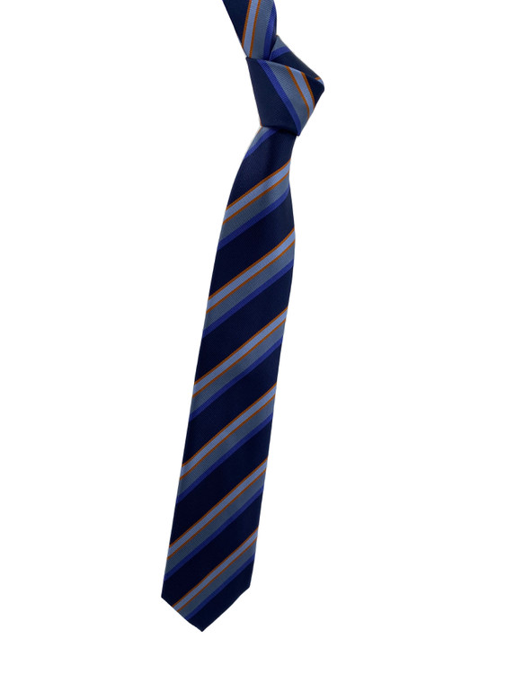Fall 2020 Navy, Orange and Blue Stripe Woven Silk Tie by Robert Jensen