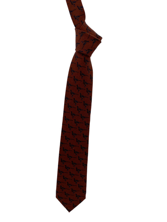 Fall 2020 Brown Pheasant Printed Silk Tie by Robert Jensen