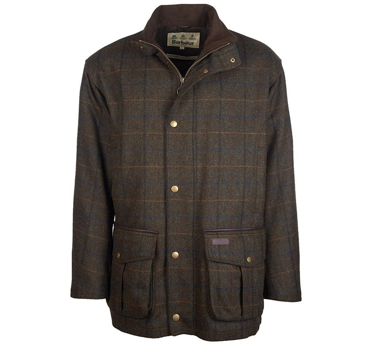 Woolsington Wool Jacket in Olive Check by Barbour