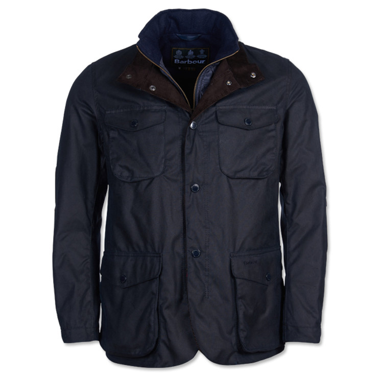 Ogston Wax Jacket in Navy by Barbour