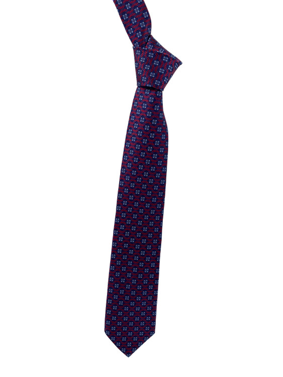 Fall 2020 Red and Navy Medallion Woven Silk Tie by Robert Jensen