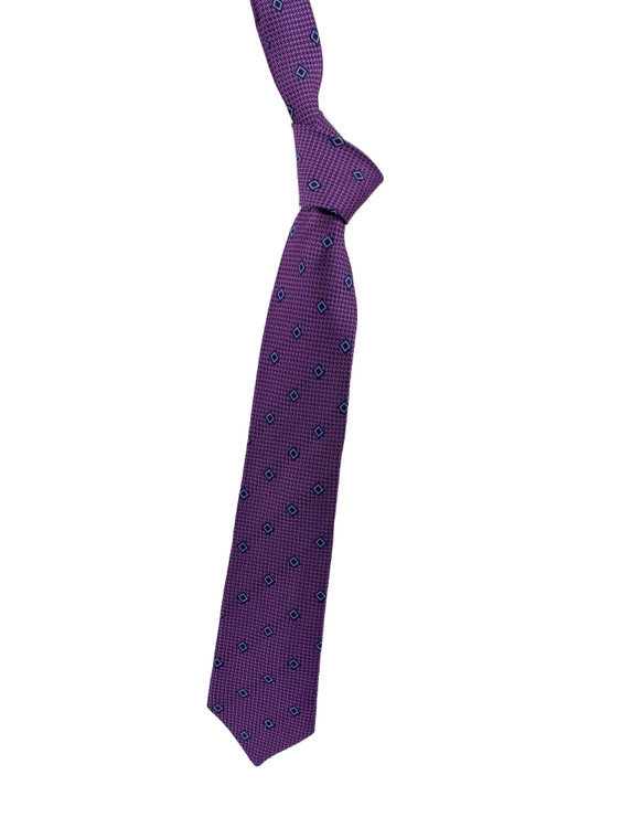 Fall 2020 Purple and Navy Neat Woven Silk Tie by Robert Jensen