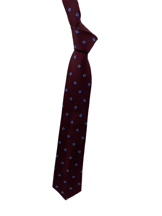 Fall 2020 Maroon and Navy Neat Woven Silk Tie by Robert Jensen