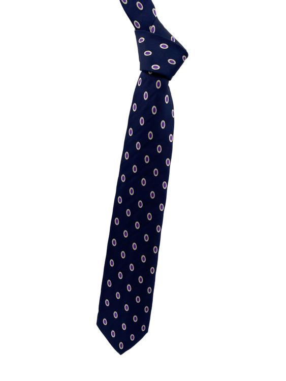 Fall 2020 Navy and Purple Dot Woven Silk Tie by Robert Jensen