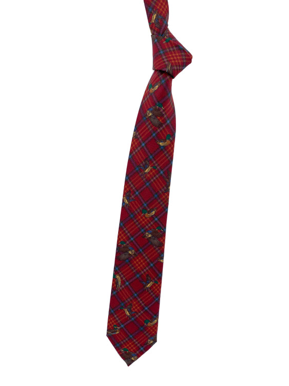 Fall 2020 Red Mallard Printed Silk Tie by Robert Jensen