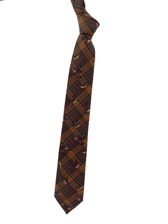 Fall 2020 Brown Mallard Printed Silk Tie by Robert Jensen