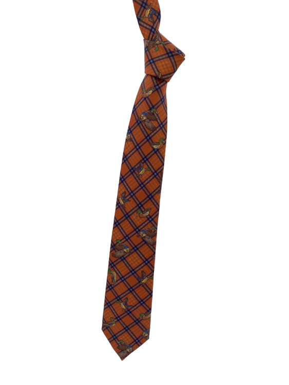 Fall 2020 Orange Mallard Printed Silk Tie by Robert Jensen