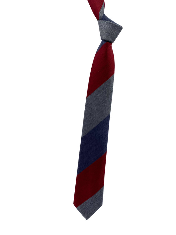 Fall 2020 Navy, Red and Grey Stripe Woven Silk Madder Tie by Robert Jensen