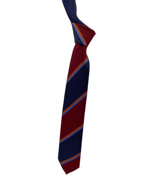 Fall 2020 Red, Navy and Orange Stripe Woven Silk Madder Tie by Robert Jensen