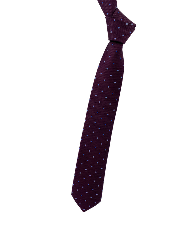 Fall 2020 Wine and Blue Dot Woven Silk Tie by Robert Jensen