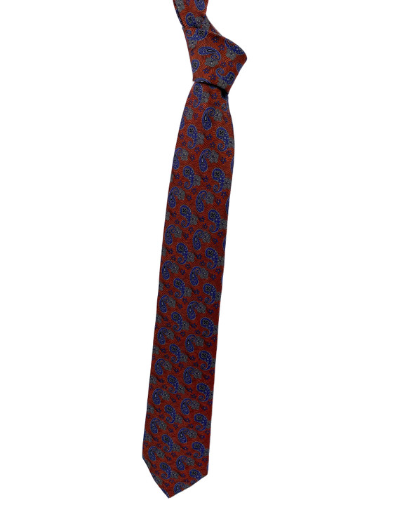 Fall 2020 Burnt Orange, Blue and Grey Paisley Woven Silk Tie by Robert Jensen