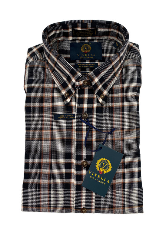 Black and Copper Plaid Button-Down Sport Shirt by Viyella