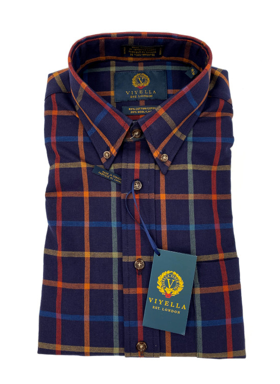 Navy, Orange and Red Check Button-Down Sport Shirt by Viyella