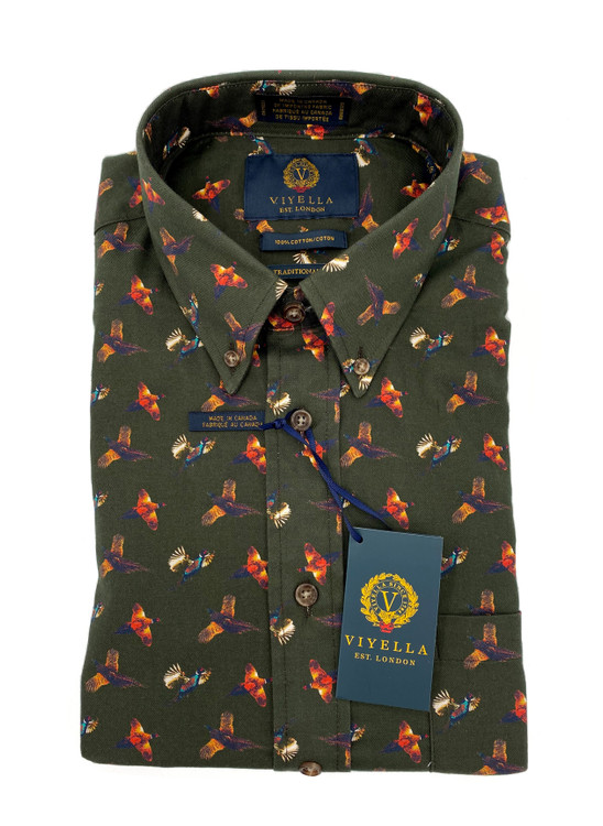 Brunswick Green Pheasant Button-Down Sport Shirt by Viyella