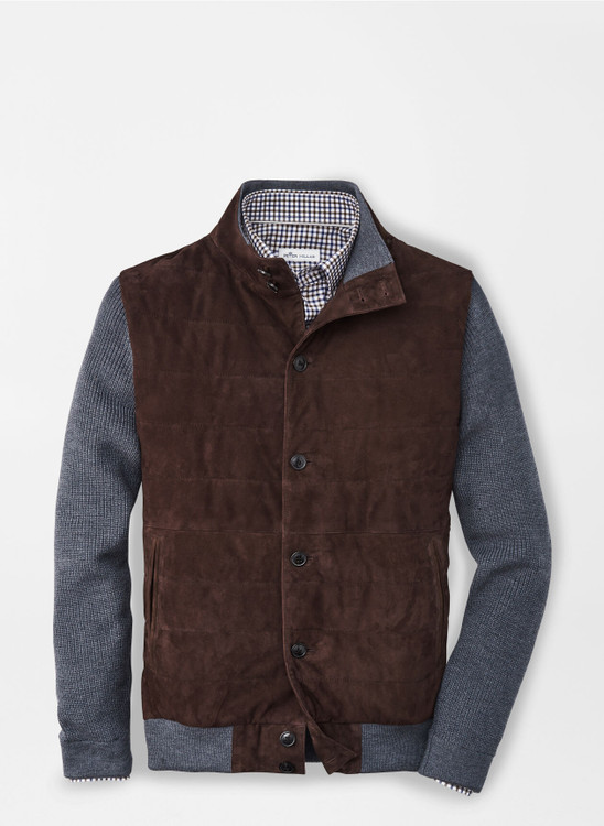 Suede Hybrid Cardigan in Carob Brown by Peter Millar