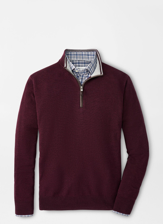 Crown Soft Nappa Trim Quarter-Zip in Currant by Peter Millar