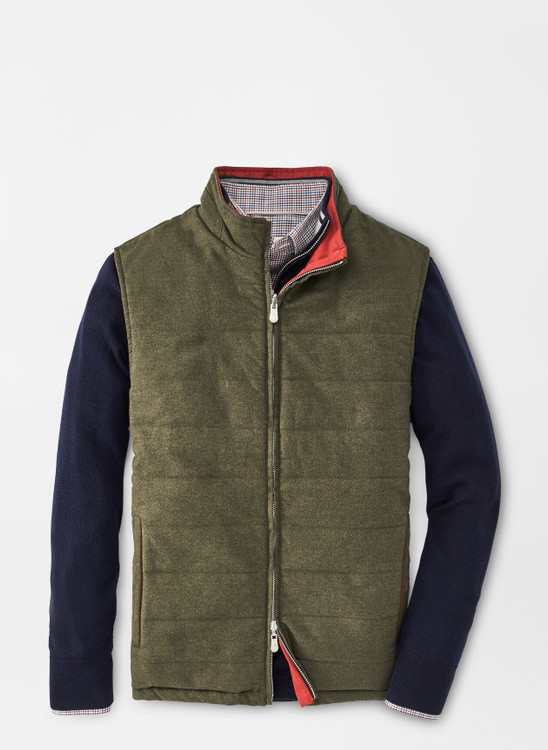 Reversible Flannel Vest in Loden by Peter Millar