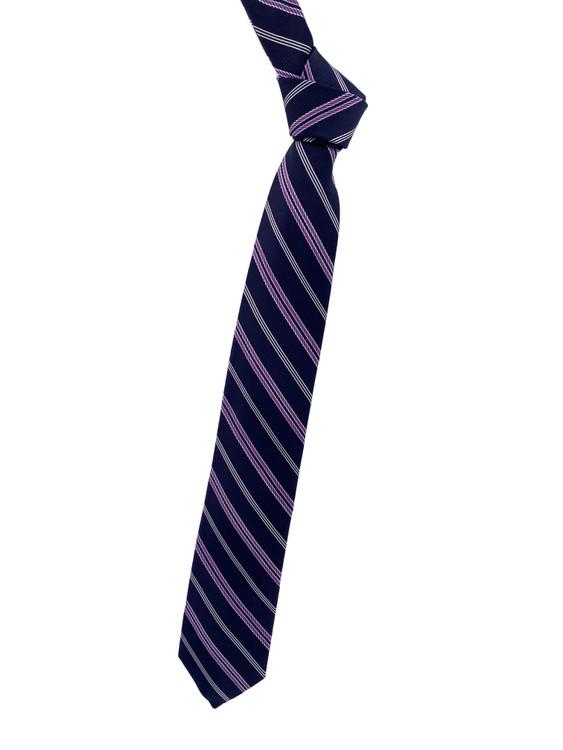 Best of Class Navy and Purple Stripe Woven Silk Tie by Robert Talbott