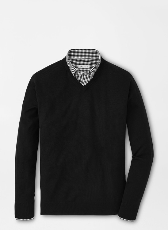 Crown Soft Merino-Silk V-Neck Sweater in Black by Peter Millar