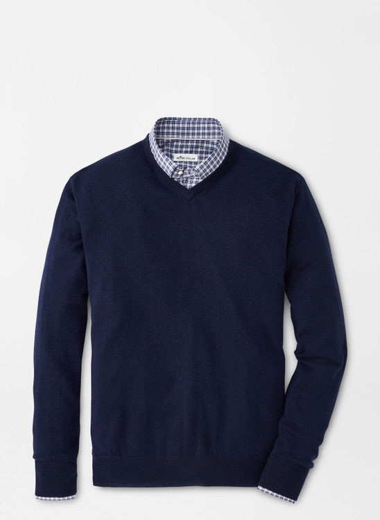 Crown Soft Merino-Silk V-Neck Sweater in Navy by Peter Millar
