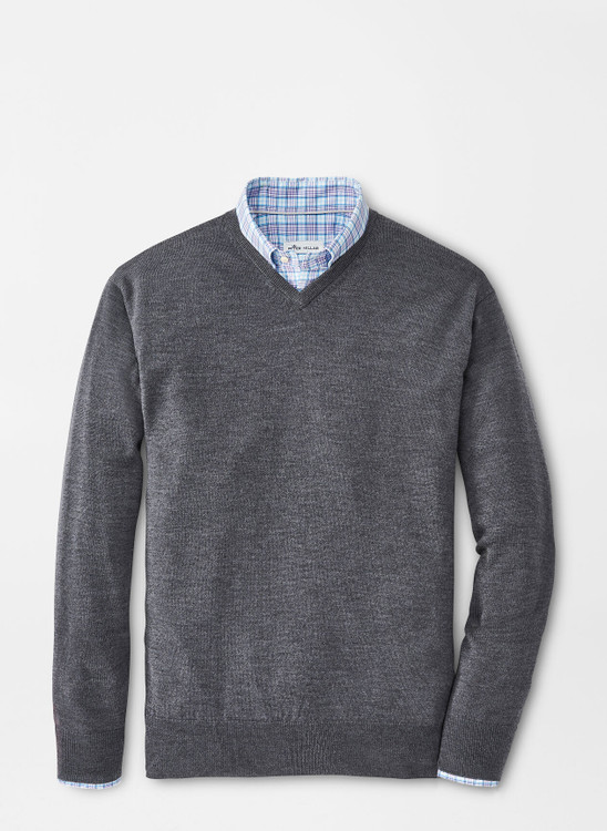 Crown Soft Merino-Silk V-Neck Sweater in Charcoal by Peter Millar
